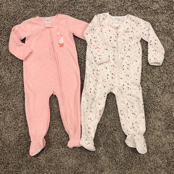 Absorba Other - 5/$25, 2 fleece girls onesie pajamas, size 24M